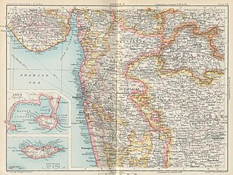 Aden Province - 1893 map of the Bombay Presidency.