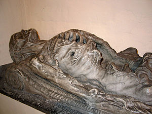 "Cadaver tomb - 16th century; ""l'homme à moulons"" (cadaver eaten by worms) in Boussu, Belgium"