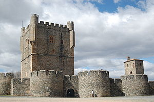 Portuguese Gothic architecture - View of Bragança Castle. The large keep tower was built in the 15th century.