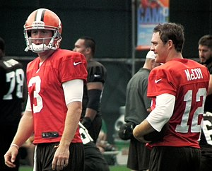 Brandon Weeden - Weeden (left) and Colt McCoy during Browns training camp