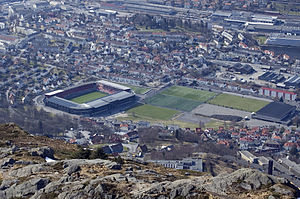 SK Brann - Brann Stadion with surrounding fields