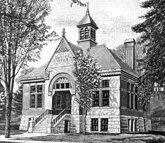 Brattleboro, Vermont - Brooks Free Library (1886, demolished 1971), Alexander C. Currier, architect (image c.1895)