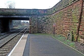 Hough Green railway station - Image: Bridge and stone, Hough Green railway station (geograph 3819562)
