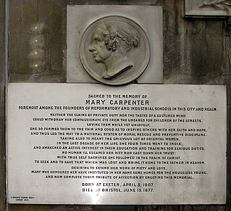 Monumental inscription - The memorial plaque to Mary Carpenter (1807-1877) in Bristol Cathedral, Bristol, England. In the mid-19th century the Bristol streets were full of homeless and destitute children 'on the border of a criminal or vagrant life.' Moved by their plight, she looked after them and started schools.