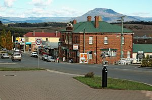 Deloraine, Tasmania - The main street of Deloraine, with the Great Western Tiers in the background.
