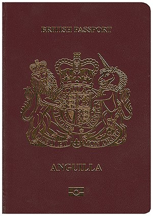 British passport (Anguilla) - The front cover of a biometric Anguillian passport