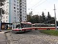 Brno, Královo Pole, smyčka Srbská, Škoda 21Tr č. 3038 a Škoda T 11 č. 248 (01).jpg