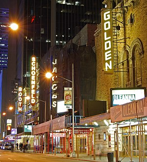 Joseph Papp - The Golden, Jacobs, Schoenfeld and Booth Theatres on West 45th Street in Manhattan's Theatre District