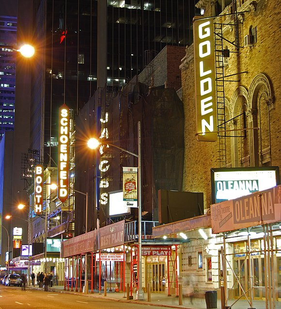 The John Golden Theatre, Bernard B. Jacobs Theatre, Gerald Schoenfeld Theatre and Booth Theatre on West 45th Street in Manhattan's Theater District Broadway Theaters 45th Street Night.jpg