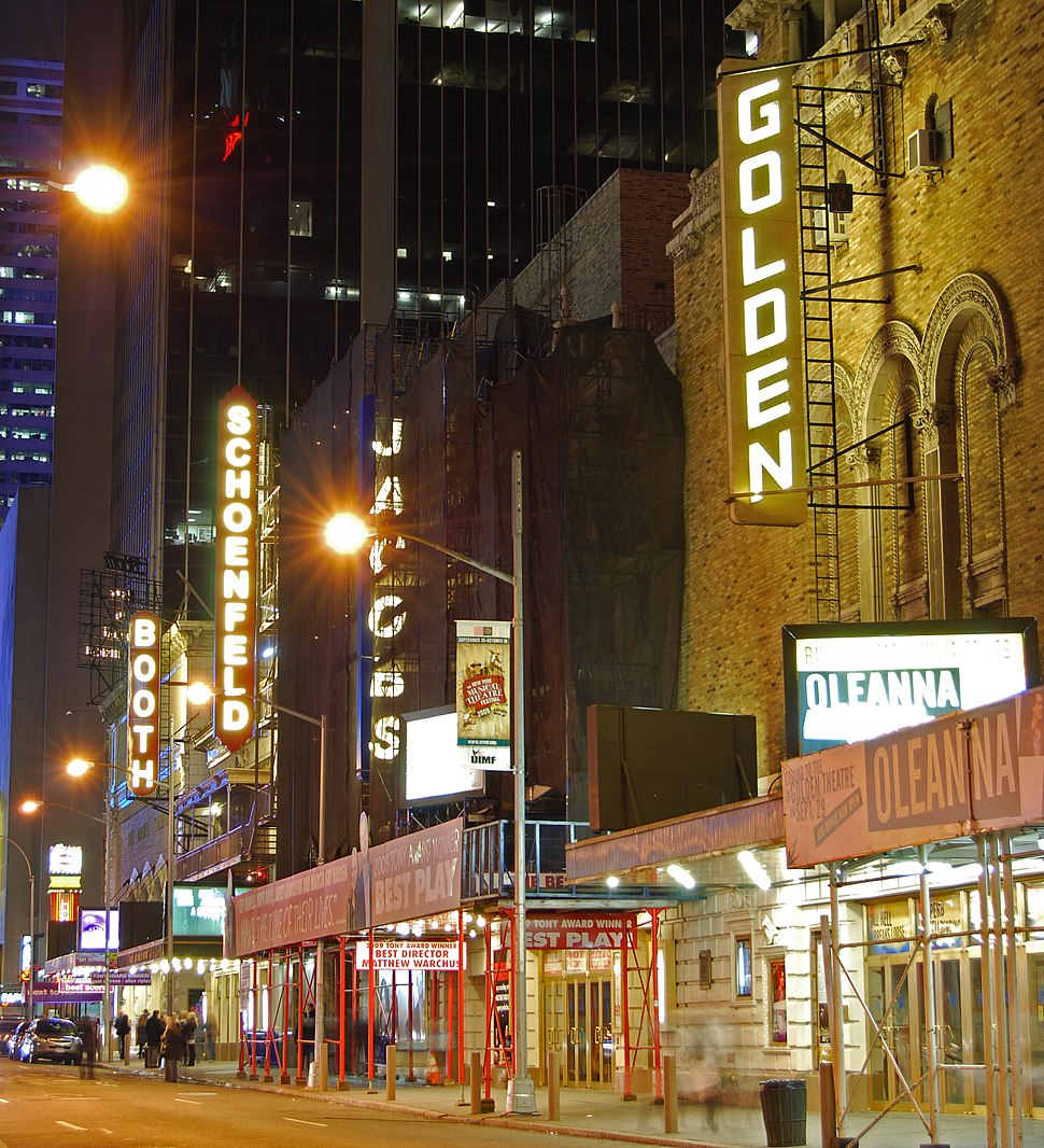 The Golden Theatre, Bernard B. Jacobs Theatre, Gerald Schoenfeld Theatre and Booth Theatre on West 45th Street in Manhattan's Theater District