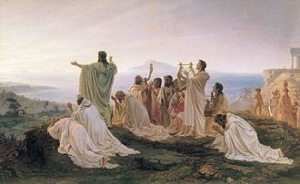 Philosophy of religion - Pythagoreans Celebrate the Sunrise (1869) by Fyodor Bronnikov. Pythagoreanism is one example of a Greek philosophy that also included religious elements.