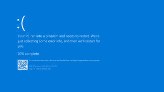 Blue Screen of Death - The Blue Screen of Death in Windows 10, which includes a sad emoticon and a QR code for quick troubleshooting
