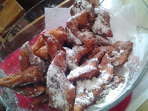 Angel wings - Bugnes in Dauphiné region France deep fried for Carnaval at Mardi Gras in February