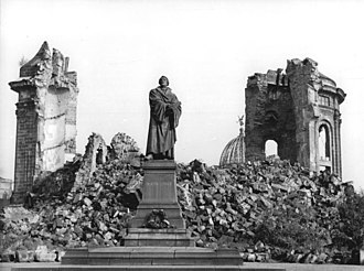 Dresden Frauenkirche - Frauenkirche ruins and Luther Monument in 1958
