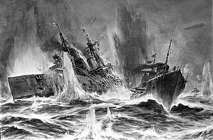 Battle of Dogger Bank (1915) - Painting of SMS V5 engaging HMS Lion