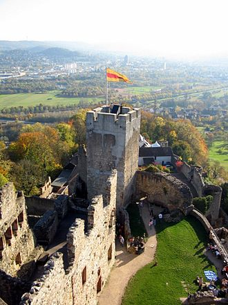 Flag of Baden - The Baden flag flown from Rötteln castle in Lörrach