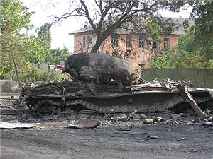 Battle of Tskhinvali - Burned Georgian T-72 tank