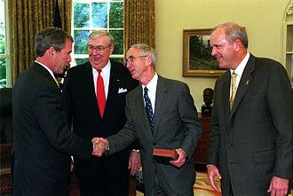 Gordon R. England - President Bush with England, James Roche, and Thomas E. White