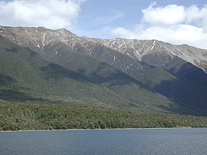 Saint Arnaud Range - The mountains seen from the west across Lake Rotoiti