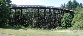 Banks–Vernonia State Trail - Panorama of Buxton Trestle, which carries the trail over a ravine
