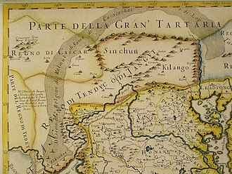 Karasahr - This 17th-century map shows Cialis (Karashar) as of one the cities in the chain stretching from Hiarcan to Sucieu