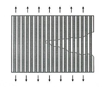 Ceramic matrix composite - Scheme of crack bridges at the crack tip of ceramic composites.