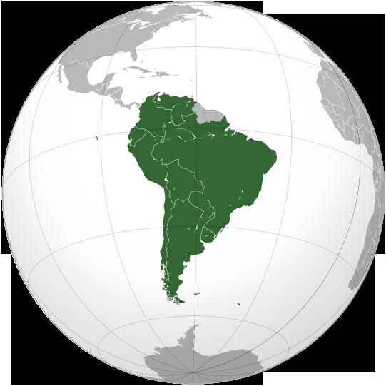 CONMEBOL orthographic projection Mapa CONMEBOL