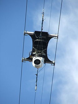 A remote-controlled camera mounted on a miniature cable car for mobility.