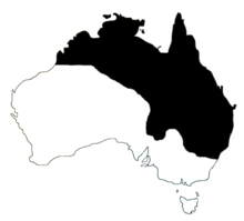 An outline of Australia with the North and NorthEast marked in black