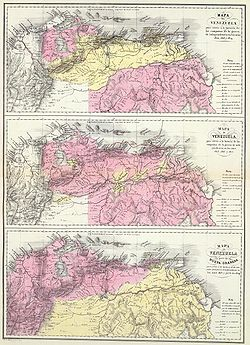 Top to bottom: First, Second and Third Republic of Venezuela      Spanish territory      Revolutionary territory