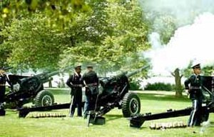 3rd U.S. Infantry Regiment (The Old Guard) - A gun salute being fired by the Presidential Salute Battery