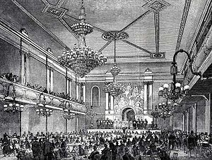 Early British popular music - Interior of the Canterbury Hall, an early example of a music hall, opened 1852 in Lambeth.