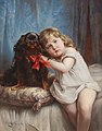 Carl Reichert - A girl with a Cavalier King Charles Spaniel.jpg