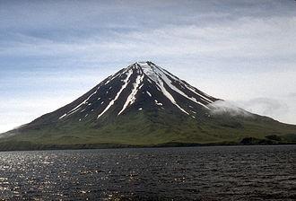 Mount Carlisle - View of steep-sided, symmetrical Carlisle volcano on Carlisle Island