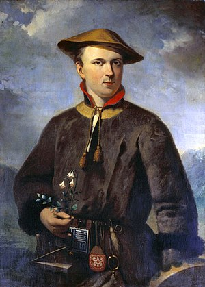 Linnaea - Linnaeus in the traditional dress of the Sami people of Lapland, holding the twinflower (Linnaea) that became his personal emblem (1853 portrait by Hendrik Hollander)