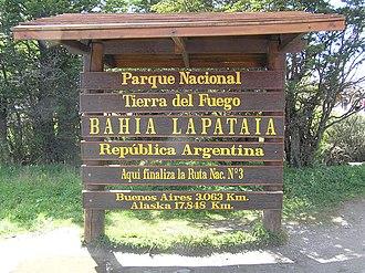 Tierra del Fuego National Park - Image: Cartel del Parque Nacional Tierra del Fuego