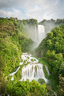 Cascata delle Marmore Waterfall in Umbria, Italy and tallest man-made waterfall in the world