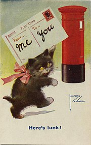 Cat mailing a postcard Here's Luck!, artist signed Lawson Wood (NBY 17881).jpg