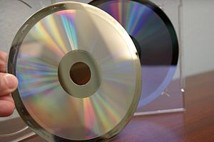 Compact Disc manufacturing - Example of a glass master used in the compact disc replication process