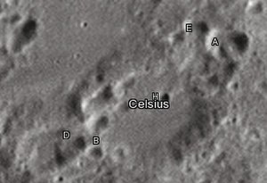 "Celsius (crater) - Celsius crater and its satellite craters taken from Earth in 2012 at the University of Hertfordshire's Bayfordbury Observatory with the telescopes Meade LX200 14"" and Lumenera Skynyx 2-1"