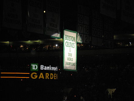 The 17th championship banner was raised above the TD Garden rafters on October 28, 2008. Celtics champions 2008.jpg