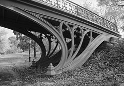 Cast-iron gothic tracery supports a bridge by Calvert Vaux, Central Park, New York City