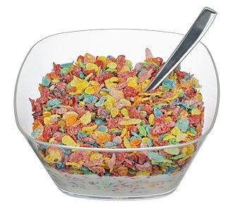 Pebbles cereal - A bowl of Fruity Pebbles cereal