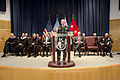 Chairman of the Joint Chiefs of Staff U.S. Army Gen. Martin E. Dempsey, at the lectern, addresses graduates of the National Defense University at Fort McNair, Washington, D.C., June 13, 2013 130613-A-HU462-097.jpg