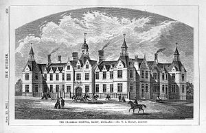 Chalmers Hospital - Wood engraving by W.E. Hodgkin, 1862