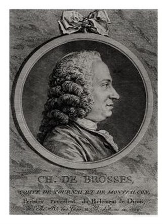Charles de Brosses - Engraved portrait of de Brosses