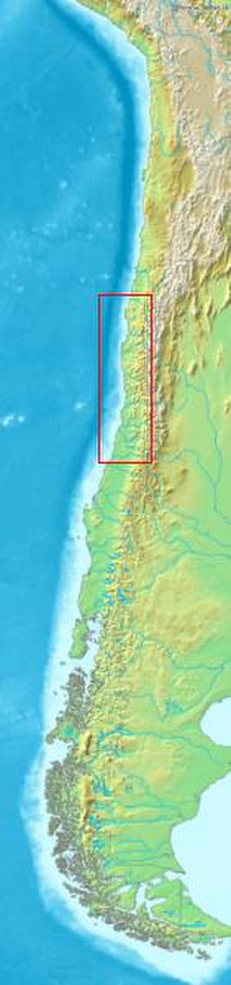 Chilean wine - Chile's topography with the location of most of Chile's wine regions highlighted.