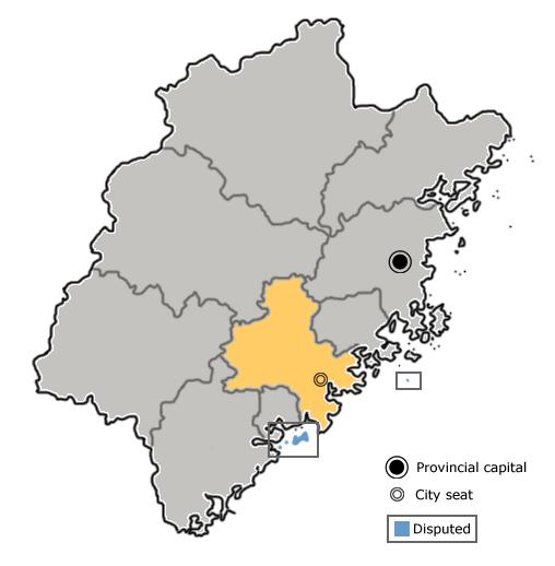 Location of Quanzhou City jurisdiction in Fujian