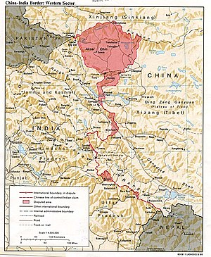 Aksai Chin - Image: China India western border 88