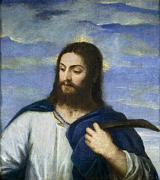 Son of man (Christianity) - Christ, by Titian - (detail) 1553, oil on canvas, 68x62cm, Prado Museum Madrid.